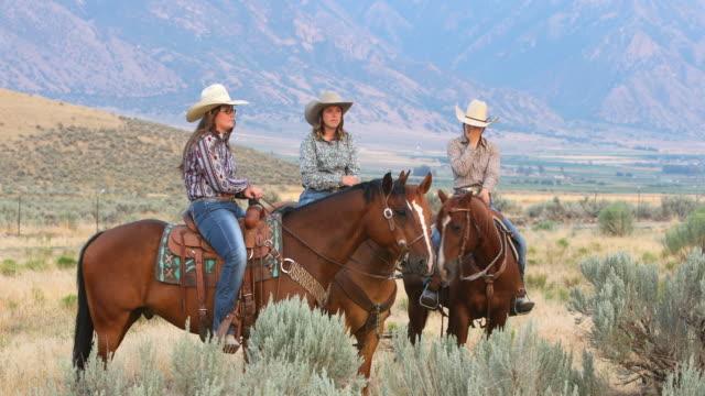 Groep Cowboys en Cowgirls te paard