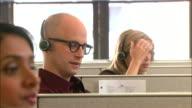 CU, SELECTIVE FOCUS, Group of customer service representatives at work