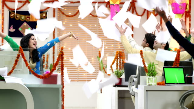 Group of employees celebrating success, Delhi, India