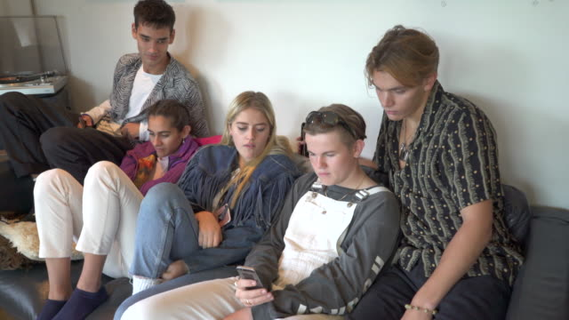 A group of Five teenagers hanging out together.