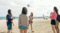 Group of friends playing at the beach