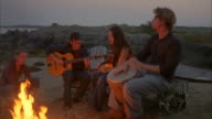 MS, TU, Group of friends  playing guitars around beach campfire, Cow Island, Maine, USA