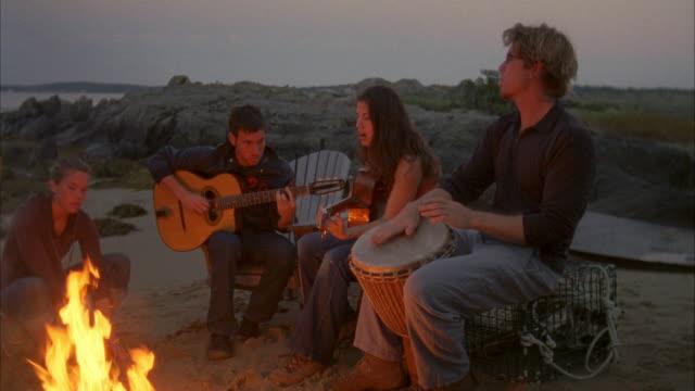 MS, TU, Group of friends  playing guitars around beach campfire, Cow Island, Maine, USA