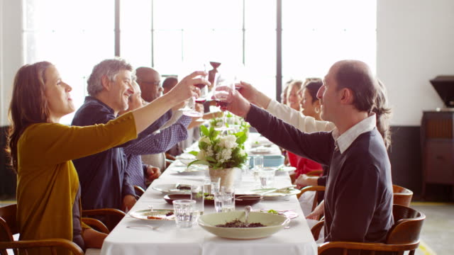 MS group of friends toasting at dinner party in loft