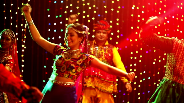 Group of gujrati people performing garba, Delhi, India