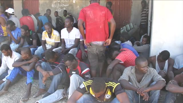 A group of illegal migrants were rescued by the Libyan coastguard after their boat started to sink of the coastal town of Garabulli 60 km east of...