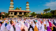 Group of Islamic Women during Prayer at mosque