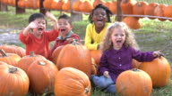 Group of multi-ethnic children at sitting with pumpkins