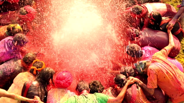 Group of people celebrating holi festival, Delhi, India