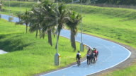 Group of people cycling Bicycle in bicycle lane