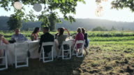 PAN WS Group of people dinning at banquet table outside in field/Washington, USA