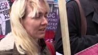 A group of people held a protest against French Presidential candidate the Front National's Marine Le Pen outside French Embassy in London England on...