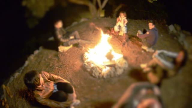 Group of people on a campfire circle