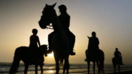 group of people riding horses in the sunset in the beach in cadiz spain