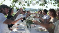 R/F MS Group of people toasting at banquet table set for dinner outside in field/Washington, USA