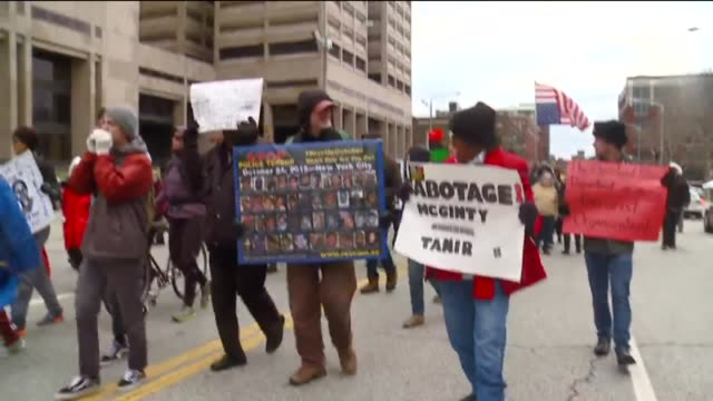 WJW A group of protesters gathered outside the Cuyahoga County Justice Center and took their demonstration to the streets of Cleveland on December 29...