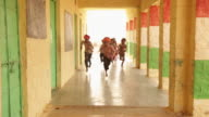 Group of rajasthani kids running in a school, Jaisalmer, Rajasthan, India