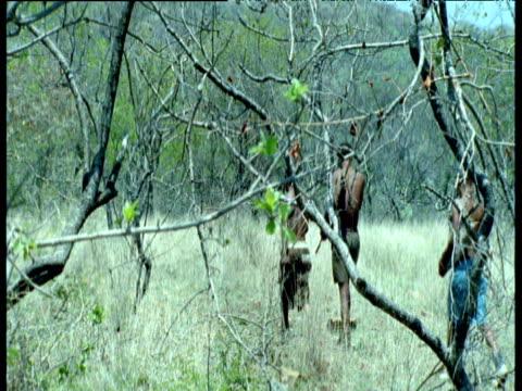 Group of San bushmen track down and chase Kudu antelope through scrub of Kalahari desert, Southern Africa
