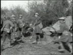 Group of soldiers receive news of Armistice soldiers jumping dancing and cheering /