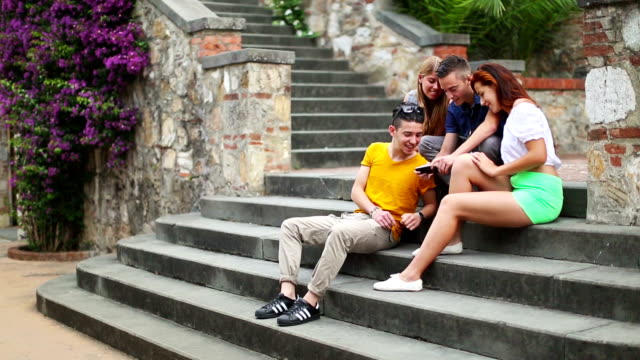 Group of teenager using a tablet pc