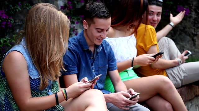 Group of Teenagers relaxing in the park
