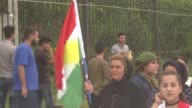 A group of terrorist PKK supporters held a demonstration in Kirkuk Iraq on April 26 2017 Protestors hold a socalled PKK flag and Ocalan posters the...