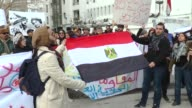 A group of Tunisian gather outside the Egyptian Embassy in Tunis on January 29 2015 to protest the death of Shaima alSabbagh who was shot by Egyptian...