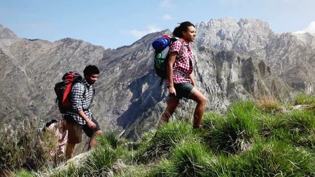 Gruppo di giovani amici escursionismo in montagna