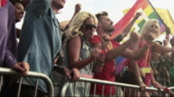 Group of young people cheering at festival