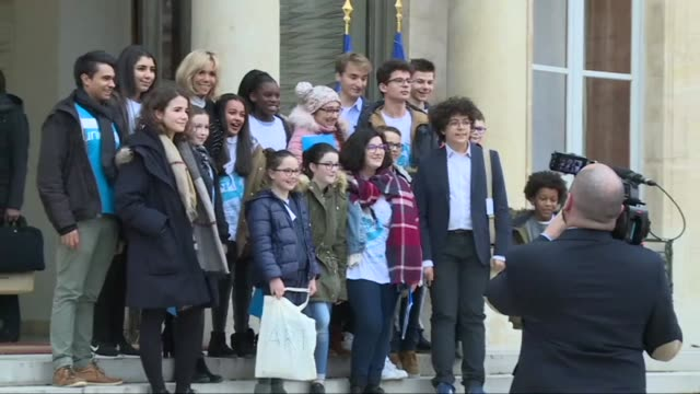 A group of young Unicef ambassadors headed to the Elysee Palace in Paris Monday for Universal Children's Day