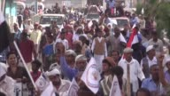 A group of young Yemenis arrive in the coastal town of Hodeida after taking part in a antiwar protest march from the capital Sanaa