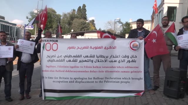 Groups of Turkish protesters gather in front of British Consulate General in Istanbul on November 07 2017 to demonstrate against the Balfour...