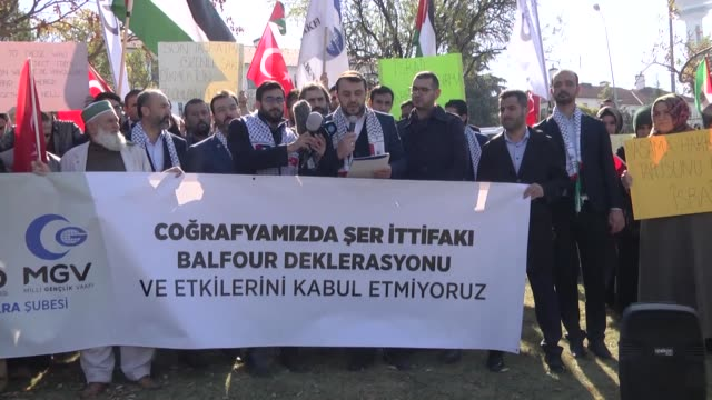 Groups of Turkish protesters take to the streets on October 02 2017 to demonstrate against the Balfour declaration that set the stage for a Jewish...