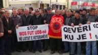 A groups of veterans of the Kosovo Liberation Army protest in front of the Government of Kosovo seeking to immediately publish the list of the names...