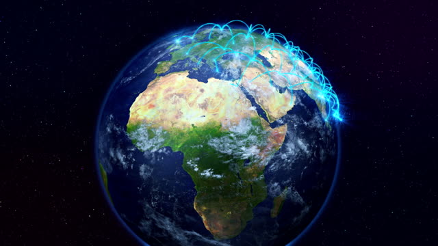 Growing network connections over the earth.