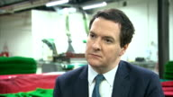 George Osborne interview ENGLAND West Yorkshire Leeds INT George Osborne MP interview SOT Britain on path to prosperity / Growth in all areas of...