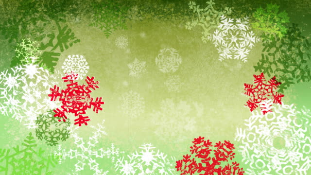 Grunge Christmas Snowflakes Background Loop Green And Red Version ...