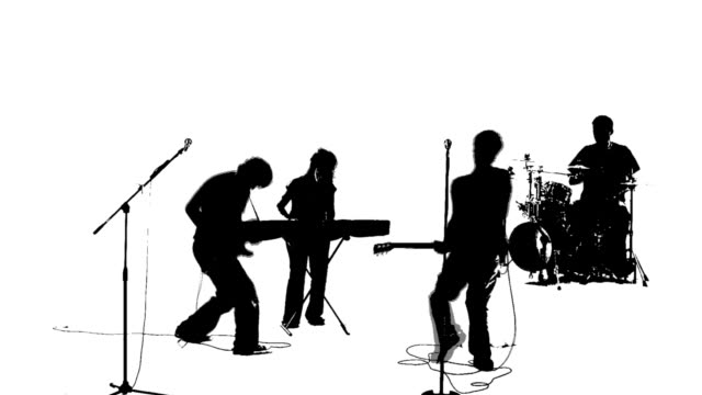 Rock Band On Stage Silhouette 44959 | RAMWEB White Drum Set Silhouette