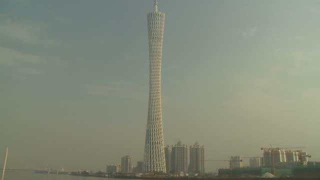 Guangzhou TV Tower along Pearl River in Guangzhou China