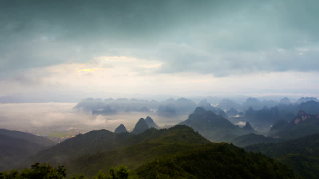 Guilin Hills at Dusk ,Guilin,Guangxi,China.time-lapse photography