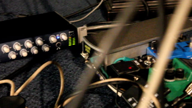 PAN Guitar pedals and cables as foot presses guitar pedal / Johannesburg/ South Africa