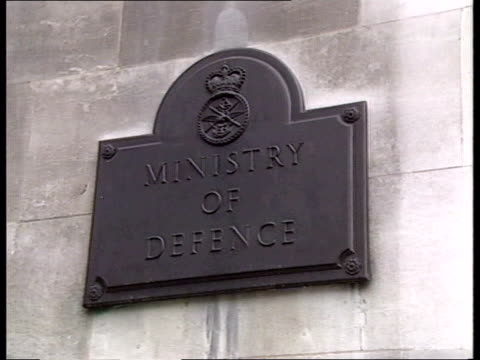 Gulf war anniversary celebrations/ Gulf war torture allegations ENGLAND London MoD CMS 'Ministry of Defence' sign LA GV Building