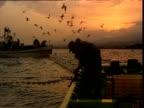Gulls and fishermen at sunset, Japan