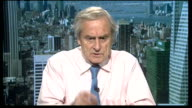 Debate ENGLAND London GIR INT Lionel Shriver and Charlie Wolf LIVE STUDIO interview and Sir Harold Evans LIVE 2WAY interview from New York SOT