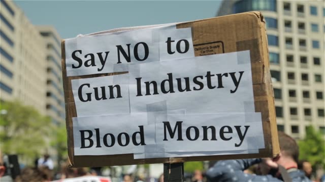 Gun control proponents rally against the NRA at K Street on April 25 2013 in Washington DC