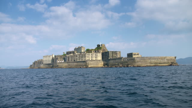 Gunkanjima one of the UNESCO World Heritage sites For 5994 fps files please contact filmresearch@gettyimagescojp Additional fees may apply for the...