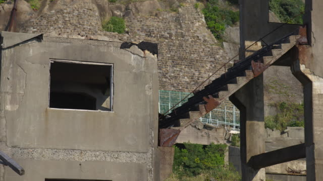 Gunkanjima one of the UNESCO World Heritage sites Mining facilities Stairs to the second vertical hole of Hashima coal mining operated by Mitsubishi...