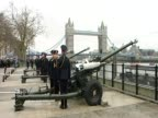 Guns are fired in a salute to Margaret Thatcher on the day of her funeral