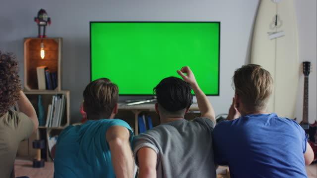 Jungs sitzen auf der couch vor dem Fernseher und jubeln