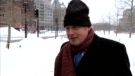 GVs Boston in snow and Boris Johnson Johnson interview SOT Introduction of tolling / London is a great tunnelling city / purpose of his meeting with...